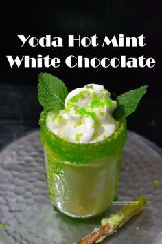 Let the Star Wars countdown begin with this delicious Yoda Hot Mint White Chocolate drink recipe. #wineglasswriter