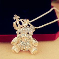 Fashion Rhinestoned Little Bear With Crown Pendant Alloy Necklace For Women