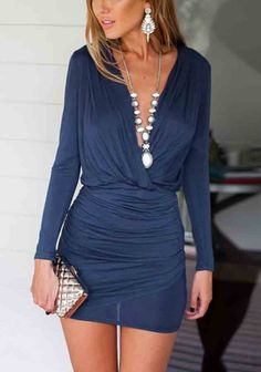 316870a35a Women Long Sleeve V-Neck Crossed Bodycon Dress