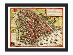 Old Map of Amsterdam, Netherlands