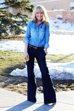 chambray top and don't forget the bootleg jeans, sorry people this style will never go out,,,,,it feels too good.