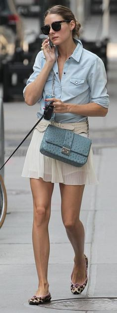 Olivia Palermo: Sunglasses – Celine, Purse – Christian Dior, Skirt and shirt- Topshop, Belt – BCBG, Shoes – French Sole