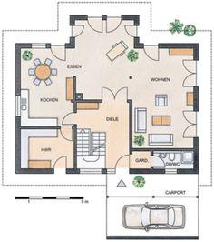 Grundriss Erdgeschoss: STOMMEL HAUS U2013 WILDROSE Wohnzimmer Vorne Rechts  Kleiner Und Dafür Büro.