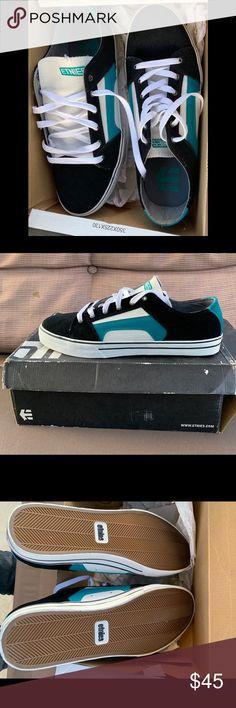 432fbadcce Etnies skate sneakers Men s size 11.5 Vintage style skate shoes. Black Teal  (blue