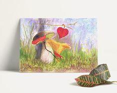 Love is... Art Print. Mushrooms print, Watercolour Painting of Mushroom, Nature art, Boletus, Cantharellus. Nature Lover Gift.