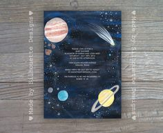 Items similar to Baby Shower Invitation, Hand Painted Outer space, Solar System, Gender Neutral Shower Digital Printable File OR Professionally Printed Cards on Etsy – babyshower Space Baby Shower, Baby Shower Niño, Baby Shower Vintage, Shabby Chic Baby Shower, Baby Shower Cards, Baby Shower Parties, Baby Shower Themes, Baby Cards, Shower Ideas