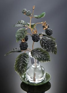 Faberge Carved Gemstone Study of Blackberries in a Vase
