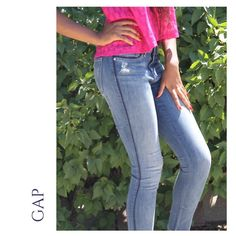 """(Sz 2) NWT GAP Denim Legging Skimmers (Sz 2) GAP Factory distressed denim leggings. These """"skinny jeans""""are slightly distressed, and also feature classic navy piping around the pockets and down the legs. The color is represented in the second and third picture. They fit like a glove! GAP Jeans"""