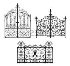 Colección de puertas forjadas enrejado negro y decorativa aislada en el fondo blanco Foto de archivo