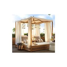 Pottery Barn Madera Teak Daybed (Double Chaise with Canopy) ($4,499) ❤ liked on Polyvore featuring home, outdoors, patio furniture, outdoor loungers & day beds, teak garden furniture, pottery barn daybed, teak daybed and weather resistant patio furniture