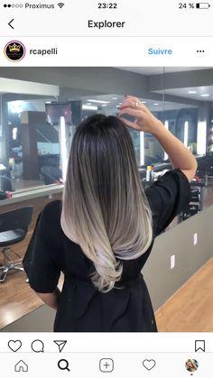 Hair Color And Cut, Ombre Hair Color, Hair Color Balayage, Hair Highlights, Ashy Blonde Balayage, Cabelo Ombre Hair, Hair Dos, Gorgeous Hair, Dark Hair