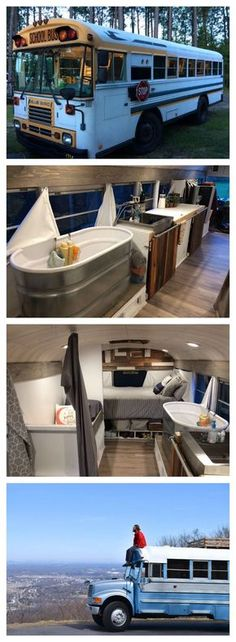 Have you ever dreamed about living in a schoolbus? The skoolie movement is growing bigger and bigger. Check this out for some schoolbus conversion ideas and maybe you'll be calling a skoolie home! Bus Living, Living In A Camper, Tiny Living, Roadtrip, Camper Van, Truck Camper, Camper Trailers, Bus Motorhome, Rv Bus