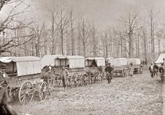 This picture was taken in 1863 near City Point, Virginia. The picture shows a wagon train of Civil War Ambulances. Battlefield medicine was still in its infancy at this time, and getting injured in combat usually meant dying of infection.