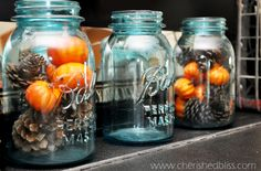 Rustic Vintage fall decor with mason jars by Emily Allen Cann Fall Mason Jars, Mason Jar Crafts, Baby Shower Fall, Baby Shower Themes, Shower Ideas, Vintage Fall Decor, Mason Jar Centerpieces, Fall Table, Autumn Theme