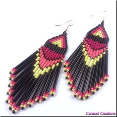 Sunset Fire Native American Seed Bead Dangle Earrings by carosell, $20.00