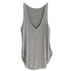 Ularma 2016 moda verano Dama de mujer sin mangas con cuello en v chaleco caramelo sueltas blusas camiseta (gris, tamaño libre) #camiseta #starwars #marvel #gift
