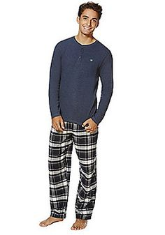 F&F Checked Bottoms Waffle Top Loungewear Set - Navy