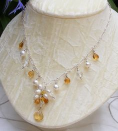 Beautiful Sterling Silver Citrine, Pearl & Crystal Bridal Necklace £45.00