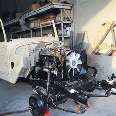 Under Hood FJ40 2F engine restoration project