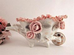 Garden Cart Figurine Vintage Porcelain Pink White Floral Wheel Barrow Dish Mid-Century Collectible Feminine Home Decor