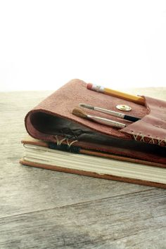 Leather Artist Journal  Refillable Art Book and Pencil by odelae, $165.00
