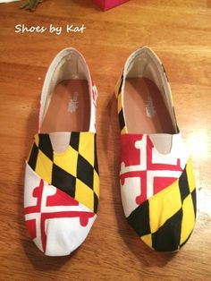Rep your Maryland Pride with these adorable hand painted Flag shoes from @Etsy. http://www.etsy.com/listing/162105268/maryland-flag-hand-painted-shoes?ref=shop_home_active