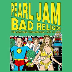 Robby the robot on Pearl Jam gig poster by Tom Tomorrow Tour Posters, Band Posters, Music Posters, Retro Posters, Event Posters, Vintage Posters, Pearl Jam Posters, Robby The Robot, Gravure Illustration