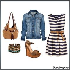 stripy dress and jeans jacket... summer 2012