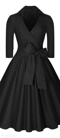 Miusol deep-v neck half sleeve vintage classic swing dress vintage black dresses, plus Vestidos Vintage, Vintage Dresses, Vintage Outfits, Vintage Fashion, Moda Vintage, Vintage Mode, 50s Vintage, Vintage Black, Swing Dress