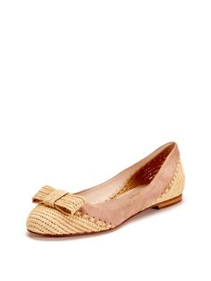 Bandy Straw Bow Flat by Delman at Gilt