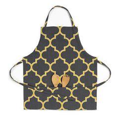 Linen Tablecloth Trellis Bib Apron Color: Charcoal/Mustard Yellow