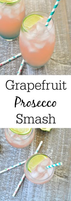 A Grapefruit Prosecco Smash is a delicious, clean tasting cocktail that is perfect for any party or as a quick drink before going out! This grapefruit prosecco is an easy 4 ingredient drink that only takes 5 minutes to make! Grab your cocktail shaker now! Grapefruit Vodka Cocktails, Prosecco Cocktails, Champagne Cocktail, Fun Cocktails, Party Drinks, Cocktail Drinks, Fun Drinks, Beverages, Cocktail Parties