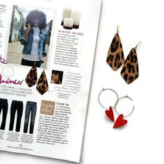 Lightweight statement earrings Leopard print as seen in Red Magazine vegan ethical hypoallergenic cork leather Dangly Earrings, Leaf Earrings, Leather Earrings, Statement Earrings, Good News Today, Armelle, Latest Discoveries, How To Make Earrings, Cool Names