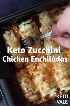 Keto Zucchini Chicken Enchiladas , By Ayana Cashay . You'd love this keto-friendly version of chicken ench. Zucchini Chicken Enchiladas - Low Carb and Keto Friendly - keto dinner ideas - keto dinner recipes - keto chicken recipes - keto chicken dinner - Ketogenic Recipes, Ketogenic Diet, Diet Recipes, Cooking Recipes, Healthy Recipes, Crockpot Recipes, Cooking Tips, Recipes Dinner, Slow Cooking
