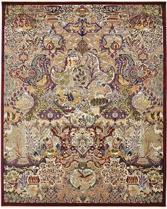 Burgundy Kashmar Design Area Rug