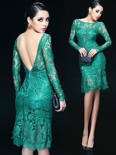 Emerald Green Backless Lace Cocktail Dress. Green Lace Sheath Dress