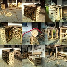 Pallet paradise or pallet-a-geddon. Made it on the fly. Vicebench / firewood storage / garden bench.
