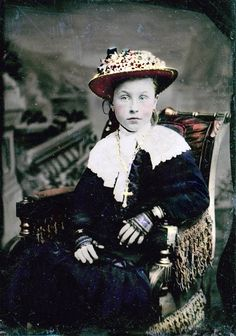 Girl Lace Gloves Flower Hat Tinted Tintype