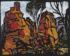 Margaret Preston 'Rocks in Roper River Valley N.' 1953 colour stencil Collection of the National Gallery of Australia © Margaret Preston. Licensed by VISCOPY, Australia Margaret Rose, Margaret Preston, Henri De Toulouse Lautrec, Australian Painting, Australian Artists, Gustav Klimt, Stencil Painting, Painting & Drawing, Drawing Rocks
