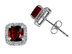 10K White Gold Genuine 6mm Cushion Cut Garnet and Diamond earring Studs garnet stud earrings