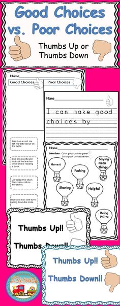Students will sort good choices and poor choices on a cut and paste activity and color code activity. They will also have the opportunity to write about making good choices on a variety of worksheets. Kindergarten Art Activities, Kindergarten Teachers, Kindness Activities, Teacher Resources, Classroom Resources, Classroom Ideas, Behavior Goals, Second Grade Teacher, Teacher Helper