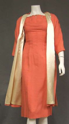 Claudia Young Salmon Wiggle Dress w/ Beads & Matching Swing Coat  Item v4197