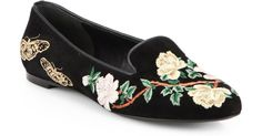 Buy Alexander McQueen Women's Multicolor Floral embroidered Suede Smoking Slippers, starting at $366. Similar products also available. SALE now on!