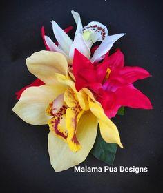 TROPICAL HAIR CLAW - Wedding Accessory, Bridal hair flower, Real Touch, Yellow Orchid, Silk flowers, Beach, Hair Clip, Bridal Headpiece by MalamaPuaBridal on Etsy