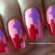 How to create jigsaw pattern nail art via @Guidecentral - Visit www.guidecentr.al for more #DIY #tutorials