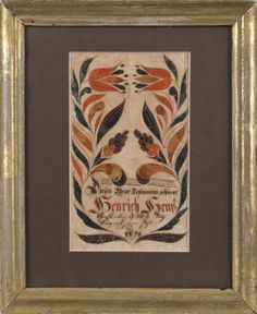 Lot: 222: Southeastern Pennsylvania ink and watercolor fra, Lot Number: 0222, Starting Bid: $1,000, Auctioneer: Pook & Pook, Inc., Auction: The Collection of Mr. & Mrs. Paul Flack, Date: October 27th, 2012 EDT
