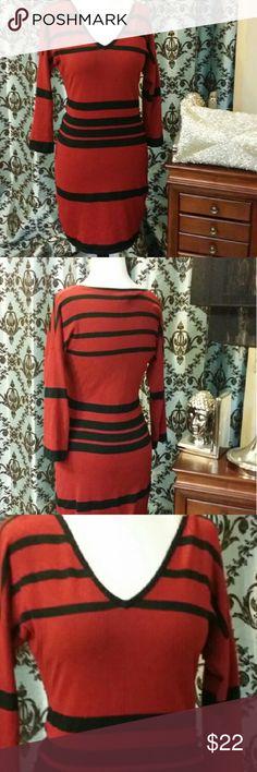 🎈 SALE🎈Women's Fitted Midi Stretch Dress Red w/Black Stripes All  Dresses