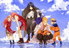 Naruto, Sasuke, and Sakura with their childhood memories