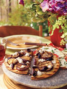 Eggplant and Feta Flat Bread #healthy #recipes