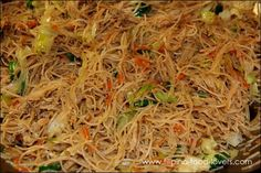 Filipino food: Pansit  / Bihon Guisado  made with the rice noodles. Omg this stuff is awesome! I've been looking for this recipe for ever!!! A must make for me soon!!!